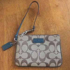 Coach Zip-up Wrist Wallet Turquoise Accents